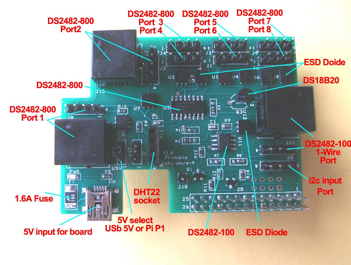 Pridopia Raspberry Pi 9 Channel 1 Wire Board Circuit Diagram The Port Is Based Around A Ds2482 800 100 I2c To Bridge Device Provides Bi Directional Protocol Conversion Between